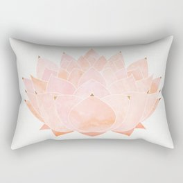 Blush Zen Lotus ~ Metallic Accents Rectangular Pillow