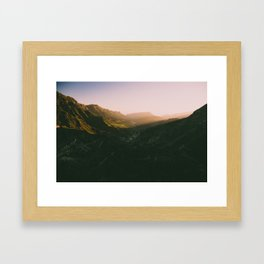 Sunset overt the mountains Framed Art Print