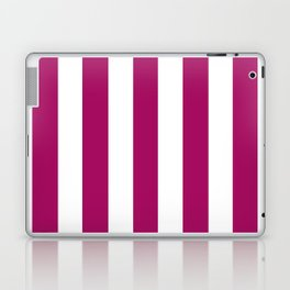 Jazzberry jam violet - solid color - white vertical lines pattern Laptop & iPad Skin