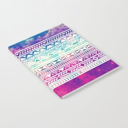 Colorful White Pastel Geometric Aztec Tribal Pattern  Notebook