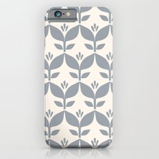 Silver grey retro tulip floral Slim Case iPhone 6s