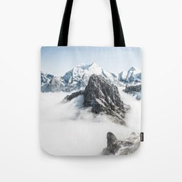 Mountain Tops Above Clouds And Snow Tote Bag