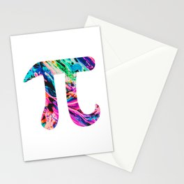 Watercolor Abstract Pi Day Oil Paint Stationery Cards