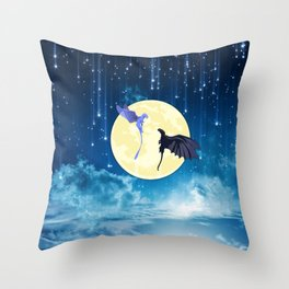 dragon fly on starry night Throw Pillow