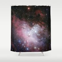 nasa Shower Curtains featuring Nebula star Eagle constellation galaxy hipster NASA space stars hipster geek sci fi landscape photo by iGallery