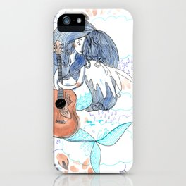 Lucy in the sky, sky, blue, guitar, psychadelic art iPhone Case