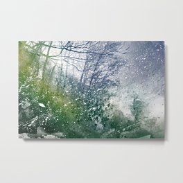 Acrylic Forest Blizzard Metal Print