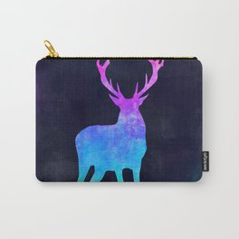 DEER IN SPACE // Animal Graphic Art // Watercolor Canvas Painting // Modern Minimal Cute Carry-All Pouch