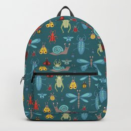 Little Bugs and Mini Beasts on Teal Backpack