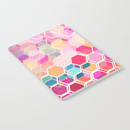 Rainbow Honeycomb - colorful hexagon pattern Notebook
