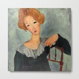 "Amedeo Modigliani ""Woman with Red Hair"" (1917) Metal Print"