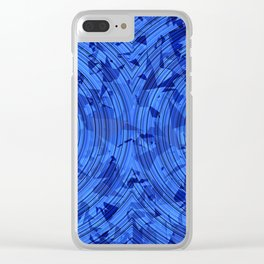 psychedelic geometric circle pattern abstract background in blue Clear iPhone Case