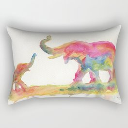 Elephant Watercolor - Mother and Baby Rectangular Pillow