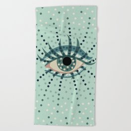Dots And Abstract Eye Beach Towel