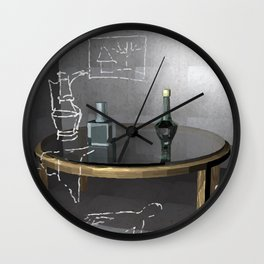 empty historic room with an old glass table and two bottles on it, objects are painted in chalk  Wall Clock