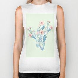 Rose Desert Cactus Mint Green + Pink by Nature Magick Biker Tank