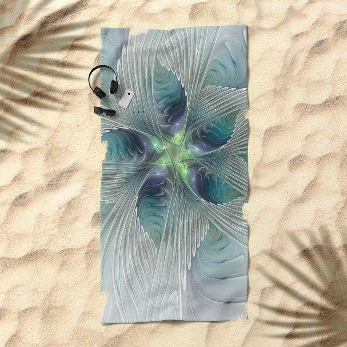 A Floral Fantasy, Abstract Fractal Art Beach Towel