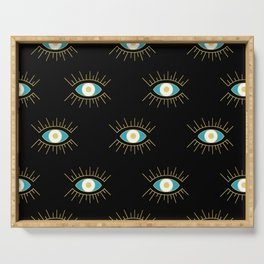 Teal Evil Eye on Black Small Pattern Serving Tray