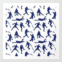 Blue Baseball Players Art Print