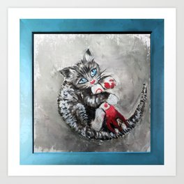 Kitten playing with a toy rocket - oil panting. Fallout fan art Art Print