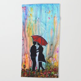 A Rainy Date romantic painting giftart Beach Towel