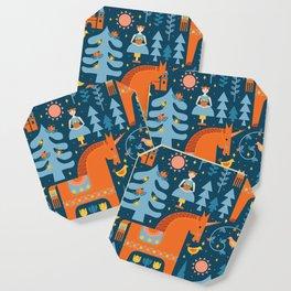 Scandinavian Fairytale Blue + Orange Coaster