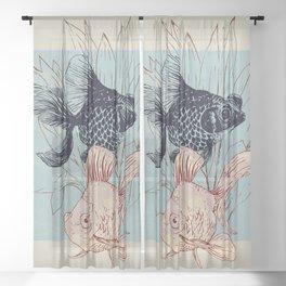 Telescope and golden fish aquarium Sheer Curtain