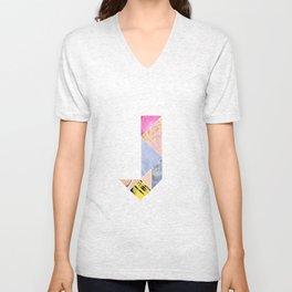Collaged Tangram Alphabet - J Unisex V-Neck