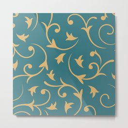 Baroque Design – Gold on Teal Metal Print