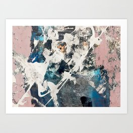 Breaker of Chains: a colorful abstract with white pink blue gray and gold Art Print