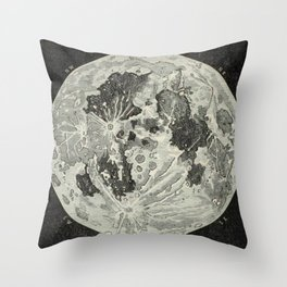 Vintage Moon Map Throw Pillow