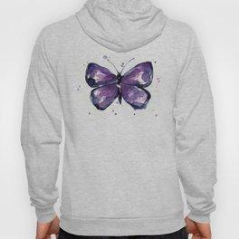 Purple Butterfly Watercolor Abstract Animal Art Hoody