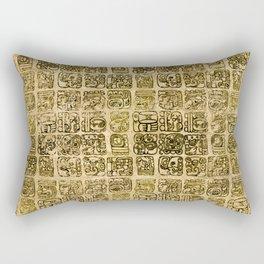 Mayan and aztec glyphs gold on vintage texture Rectangular Pillow