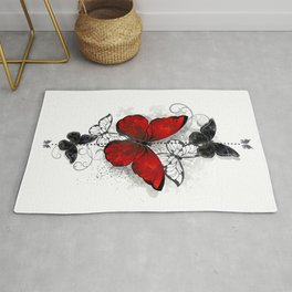 Red and Black Butterflies Rug
