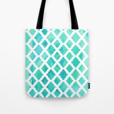 Watercolor Mint Diamonds Tote Bag