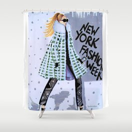 NEW YORK FAHION WEEK ILLUSTRATION BY JAMES THOMAS RYAN Shower Curtain