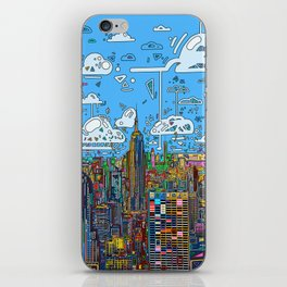 new york city skyline colorful iPhone Skin