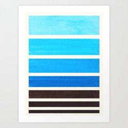 Cerulean Blue Minimalist Watercolor Mid Century Staggered Stripes Rothko Color Block Geometric Art Art Print