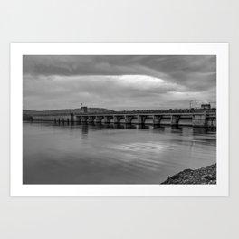 Table Rock Lake Dam in Black and White Art Print