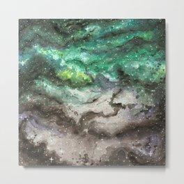 Watercolor Universe - Green Metal Print