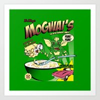 gremlins Art Prints featuring Mogwai's Breakfast the after midnight snak by Faniseto