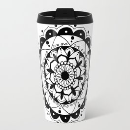 Zen black mandala on white Travel Mug