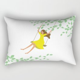 Happy times. Little girl in bright yellow dress on the tree swing. Rectangular Pillow