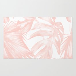 Tropical Leaves Pink and White Rug