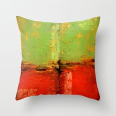 Textured abstract in green and orange Throw Pillow