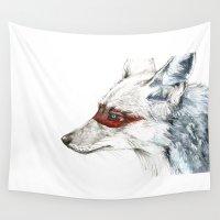 coyote Wall Tapestries featuring Coyote I by Susana Miranda ilustración