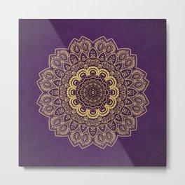 Golden Flower Mandala on Textured Purple Background Metal Print