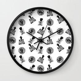 black lives matter protest seamless pattern Wall Clock