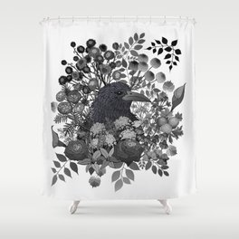 Raven in the Garden of Departed Botanicals Shower Curtain