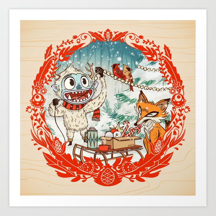 Golly Jolly Holly Art Print